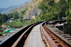 Rail way on wood structure. Beside river kwai Royalty Free Stock Photo