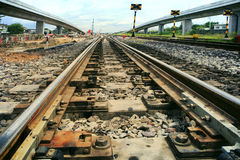 Rail ways junction and construction use for land transporat indu Stock Images