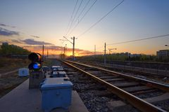 Rail ways, sunset Stock Photo