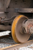 Rail Wheel. Verticle view of rail wheel close up with rust ringing wheel Stock Photos