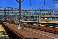Rail Yard. Electric Train Rail Yard with HDR enhancement royalty free stock photo