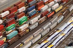 Rail yard for containers. VANCOUVER - is the busiest port for importing goods from Asia in containers and shipping them across the continent by rail stock photography