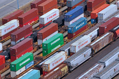 Rail yard for containers. VANCOUVER is Canada's busiest port for importing goods from Asia in containers and shipping them across the continent by rail royalty free stock photo