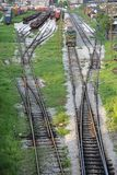 Rail Yard. Complex Series of Railroad Tracks for Sorting Rolling Stock Royalty Free Stock Photos