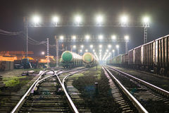Rail yard with railroad cars and cisterns Royalty Free Stock Photography