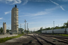 Rail yard. On a sunny day. North south tracks Stock Photo