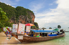 Railay bay. Railay is situated at Krabi province, getting there to railay by boat only. You may visit all year round. Interesting is Rock Climbing as the world's Stock Image