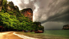 Railay Bay Longboats Stock Photo
