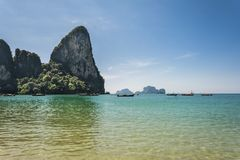 Railay beach, Andaman sea in Krabi, Thailand. Stock Photos