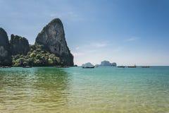 Railay beach, Andaman sea in Krabi, Thailand. View of Railay Beach and Andaman Sea in Krabi, Thailand Stock Photos