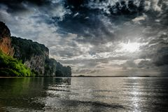 Railay beach in the cloud Royalty Free Stock Photography