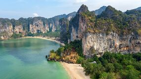 Railay Beach In Thailand, Krabi Province, Aerial Bird`s View Of Tropical Railay And Pranang Beaches With Rocks And Palm Trees Stock Photos