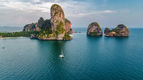 Free Railay Beach In Thailand, Krabi Province, Aerial View Of Tropical Railay And Pranang Beaches And Coastline Of Andaman Sea Stock Image - 152994061