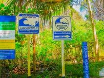 Railay, Krabi Tajlandia, Luty, - 01, 2010: Pointery z ewakuacyjną trasą zagrożenie tsunami Obrazy Stock
