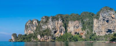 Railay and Ton Sai Beach limestone rock formations in Krabi, Thailand panorama. Railay and Ton Sai Beach limestone rock formations good for rock climbing in Stock Image