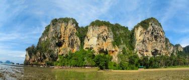 Railay and Ton Sai Beach limestone rock formations in Krabi, Thailand. Railay and Ton Sai Beach limestone rock formations good for rock climbing in Krabi Royalty Free Stock Photos