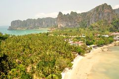 Railay. View of Railay beaches near Krabi, Thailand. Railay is a sandy isthmus surrounded by limestone cliffs that is accessible only by boat royalty free stock photography