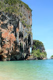 Railay. View of the limestone cliffs surrounding Railay Beach Stock Images