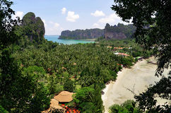 The Railay viewpoint. From the Railay viewpoint, about 110 meter high, it`s possible to see the Ao Nang bay, Tonsai beach, West Railay beach, the village and royalty free stock photo