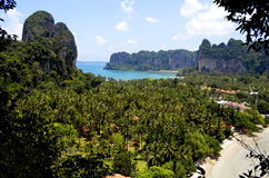 The Railay viewpoint. From the Railay viewpoint, about 110 meter high, it`s possible to see the Ao Nang bay, Tonsai beach, West Railay beach, the village and royalty free stock photography