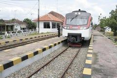 Railbus and Sukoharjo station Stock Images