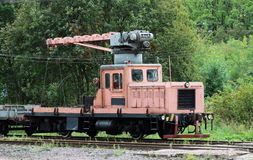 Railcar for maintenance of the railway and security checks. Royalty Free Stock Photography
