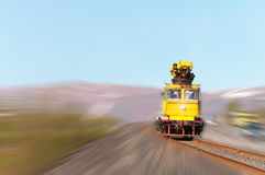 Railcar move along the railway. Royalty Free Stock Image