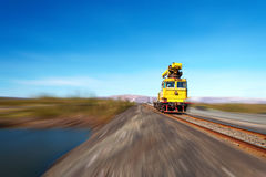 Railcar move along the railway. Royalty Free Stock Images