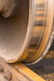 Railcar Wheel on Track Stock Images