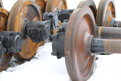 Railcar wheels on the axles Royalty Free Stock Photo