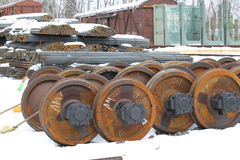 Railcar wheels Royalty Free Stock Photos