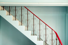 Railing banister stairs down curved steel Stock Photography