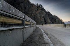 Railing on a bridge. In the mountain Stock Image