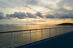 Railing. From cruise ship with sunset background Royalty Free Stock Images