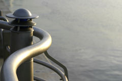Railing detail. Curved railing at water's edge stock photos