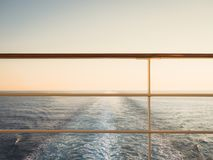 Railing on the empty, open deck stock photos
