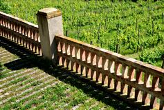 Free Railing Fencing Rest Area Above The Vineyard Using Red Bricks Creates A Regular Airy Grid Paving In Stripes Overgrown With Lawn Stock Photos - 189550883