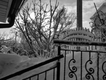 Railing and handrail stairs in winter. Railing and handrail stairs on the background of snow in winter royalty free stock photos
