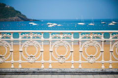 Railing of La Concha Beach Royalty Free Stock Image