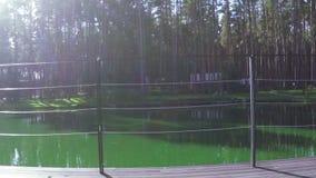 Railing near pond stock video footage