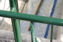 Railing painted with brush Royalty Free Stock Photography