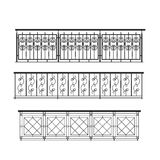 Railing parapet metal for exterior. Outline silhouette Stock Images