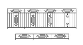Railing parapet metal for exterior. Outline silhouette Royalty Free Stock Photos