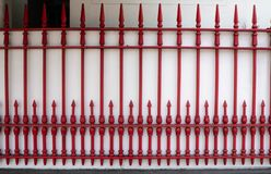 Railing red on wall white in thailand stock image