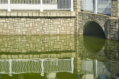 Railing reflections in the water Royalty Free Stock Images