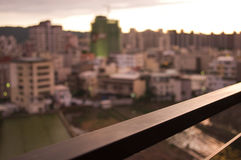 Railing with skyline and sunset Stock Photo