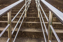 Railing And Stairs. With Handrails Chromium Stainless Steel stock photography