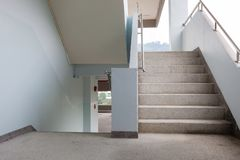 Railing and stairs of a modern industrial building Stock Photo