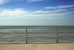 Railings. A view out too sea over the railings Royalty Free Stock Image