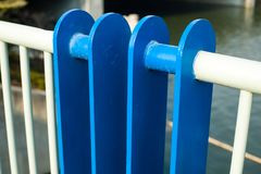 Railings channel. Channel bars white line outside Royalty Free Stock Image